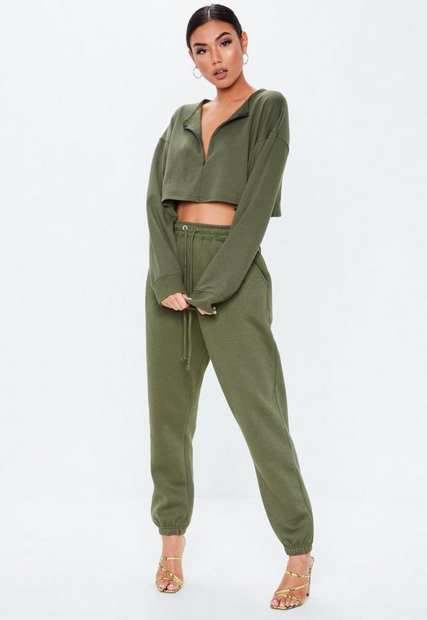 Khaki Zip Inserted Sweatshirt by Missguided