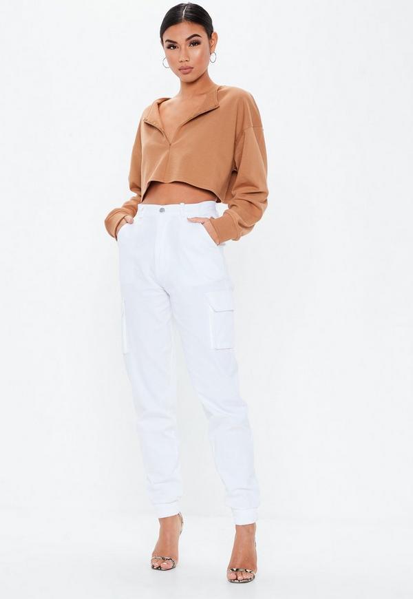 Brown Zip Inserted Sweatshirt by Missguided