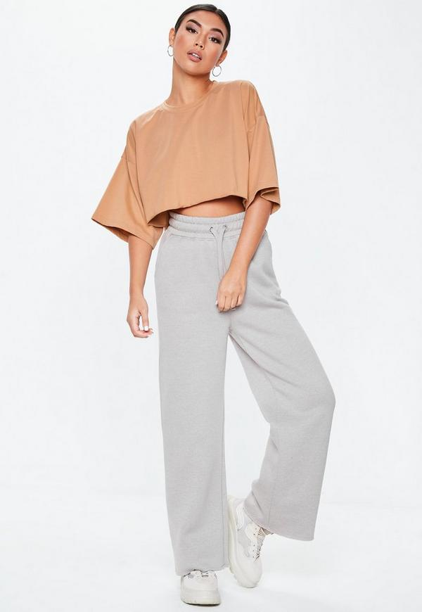 ba19ab3995b8d Brown Drop Shoulder Oversized Crop Top