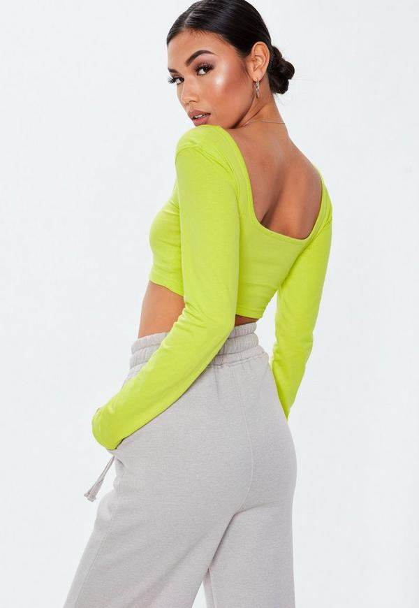 d1b50639f30ff1 Neon Lime Scoop Neck Long Sleeve Crop Top. Previous Next
