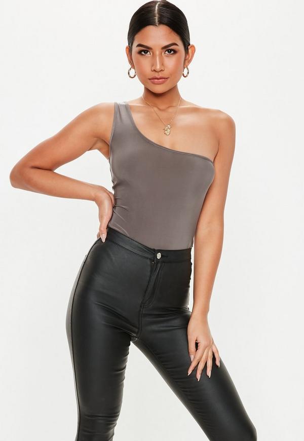 56a5441cec Grey Slinky One Shoulder Bodysuit