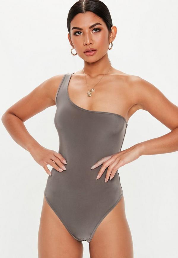 6aad849224 Grey Slinky One Shoulder Bodysuit. Previous Next