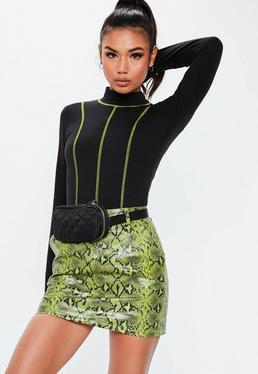 ef8815ea32 Black Long Sleeve Turtle Neck Top  Black Contrast Stitch Bodysuit