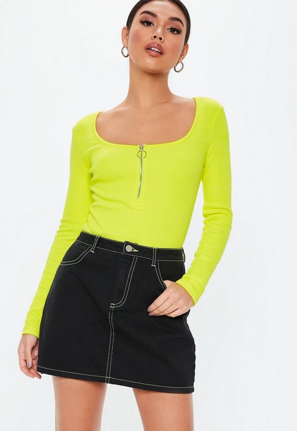 67cc086bb76 Neon Lime Zip Front Scoop Neck Ribbed Bodysuit