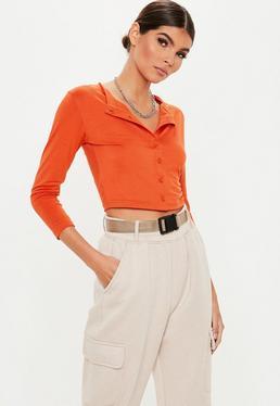 659753b90eaadf Long Sleeve Bodysuits. Orange Crop Tops. Button Tops