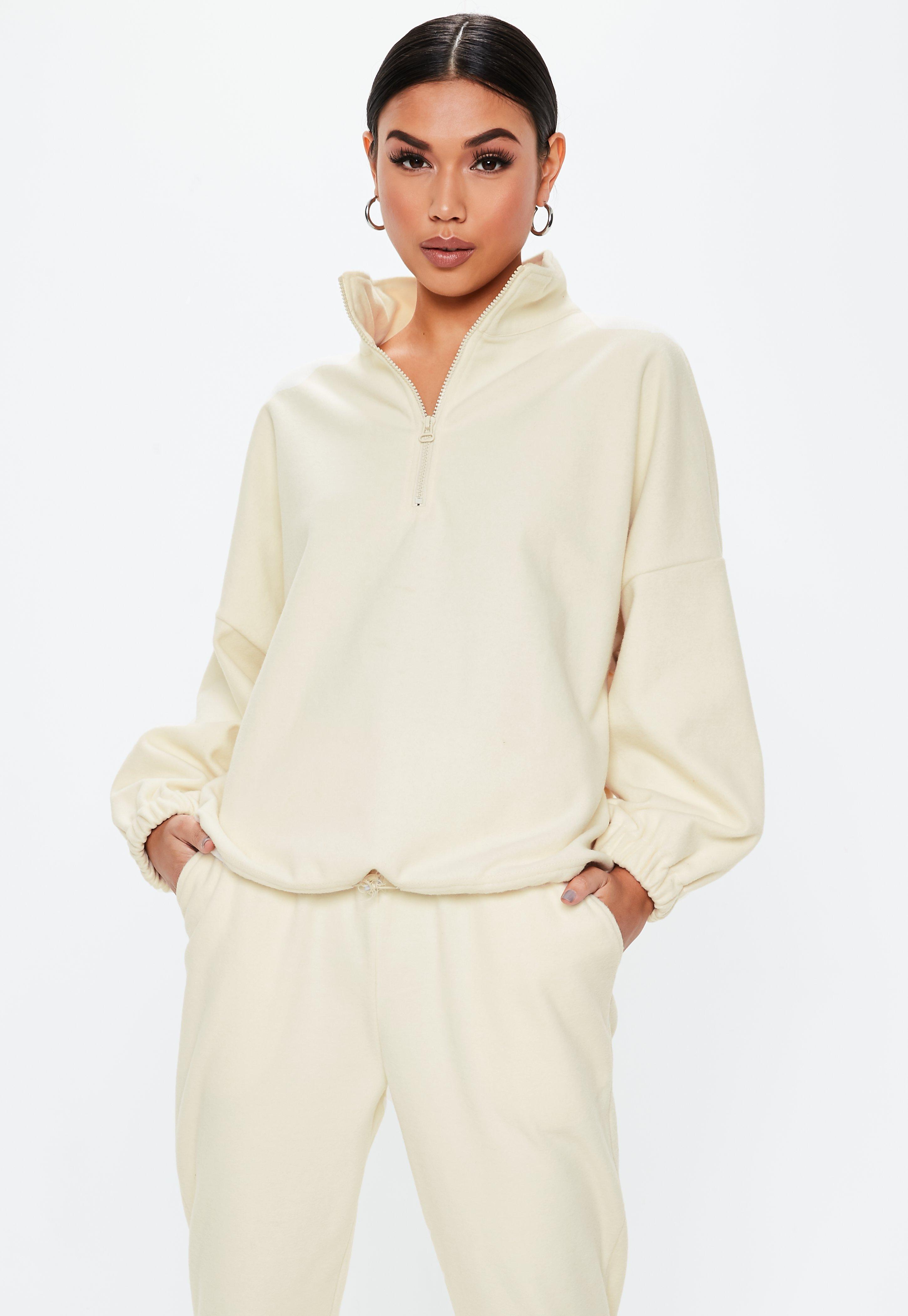 55d65517853 Cream Zip Up High Neck Toggle Sweatshirt