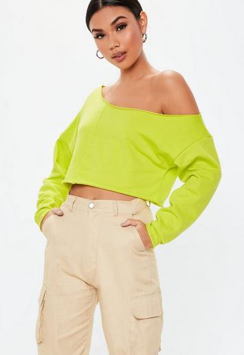 Neon Green Off The Shoulder Sweatshirt   Missguided