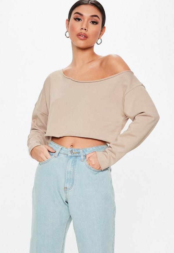 8151018079129 Petite White Roll Sleeve Cropped Top