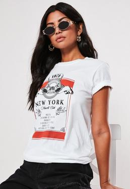 995c19acdf ... White New York Washed Graphic T Shirt