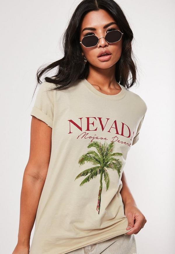 9afe630c8ea7c Sand Nevada Palm Tree Graphic T Shirt