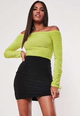 8f4b75aee9629 ... Lime Ruched Detail Bardot Slinky Bodysuit