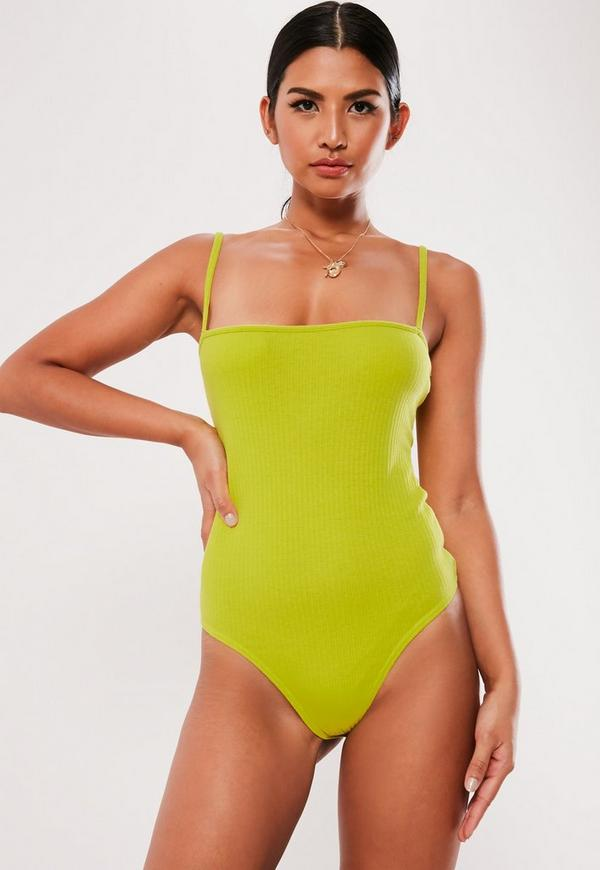 abb873fd6ee4d7 ... Tops    Yellow Straight Neck Strappy Ribbed Bodysuit. Previous Next