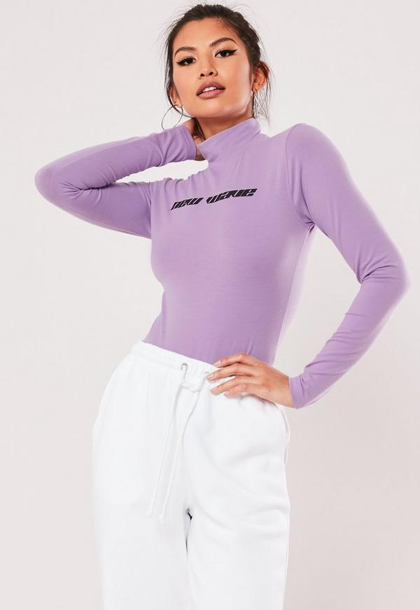 Purple New Wave Slogan High Neck Bodysuit by Missguided