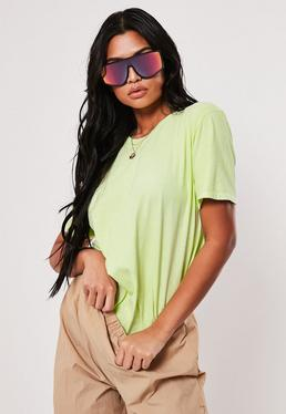 22687cd6e21 Neon Lime Washed Basic T Shirt