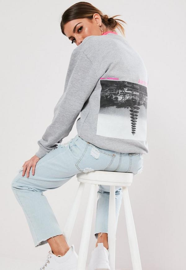 Grey Wanderlust Graphic Back Sweatshirt by Missguided