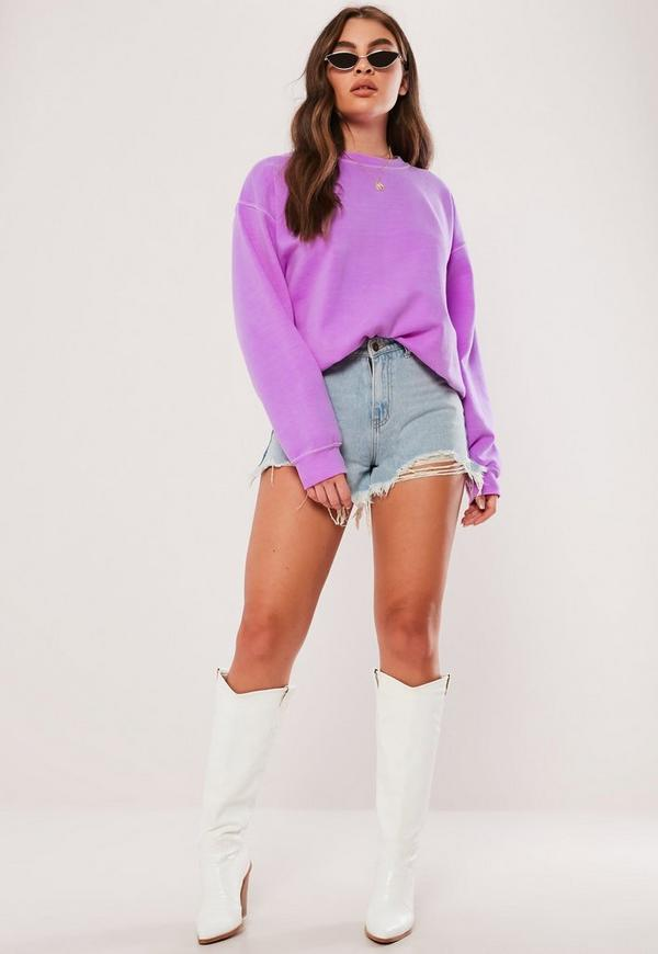 Neon Purple Washed Sweatshirt by Missguided