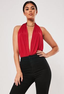 e52b01ef0b17d6 ... Red Halterneck Slinky Bodysuit