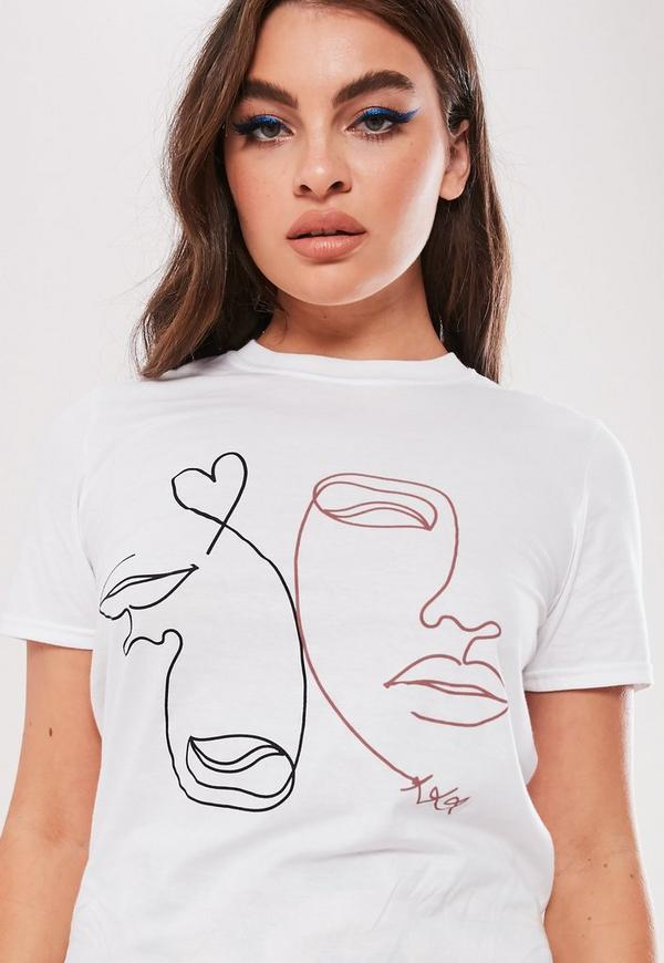 White Graphic Face T Shirt by Missguided