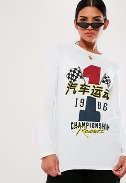 9366262816401 ... White Long Sleeve Graphic T Shirt