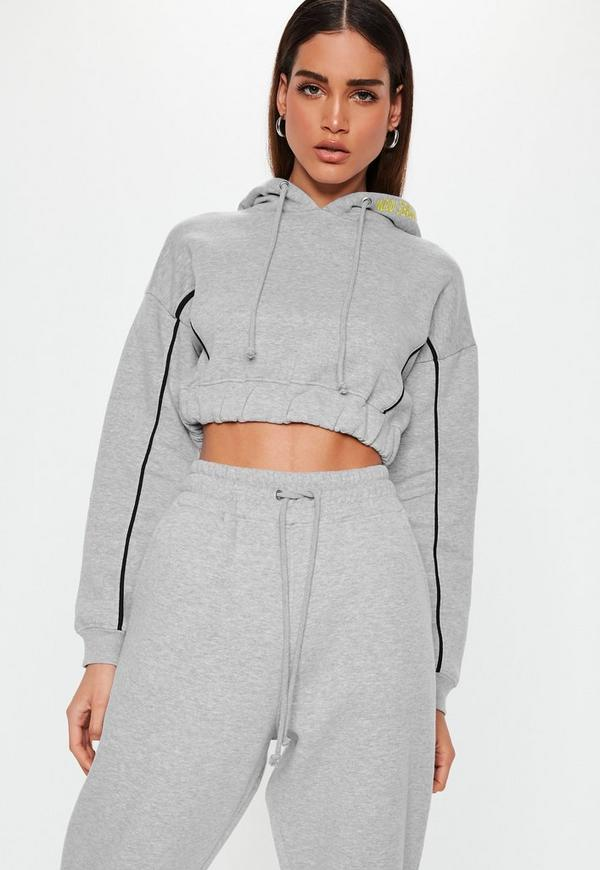 Grey Piping Detail Cropped Hoodie a1f45612d