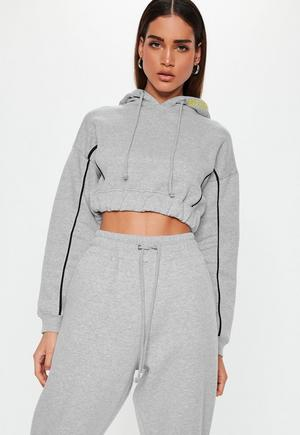 d9c0e330407a6 £20.00. grey piping detail cropped hoodie