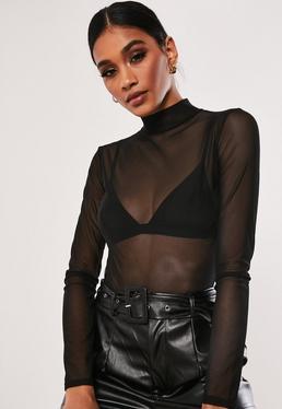 d0f5ac1ace Black Disc Halterneck Plunge Bodysuit  Black High Neck Mesh Bodysuit