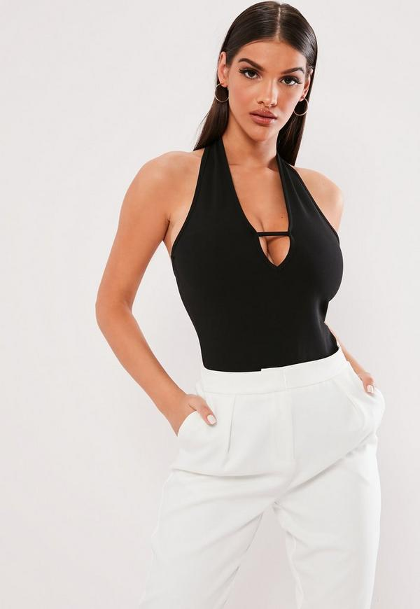 ... Black Halterneck Tab Front Sleeveless Bodysuit. Previous Next 14f5ce645