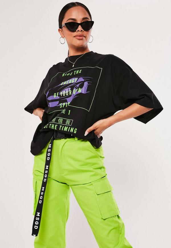 Black Ride The Energy Graphic T Shirt Missguided
