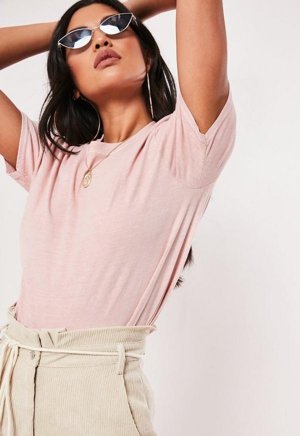 Pink Washed Basic T Shirt Missguided
