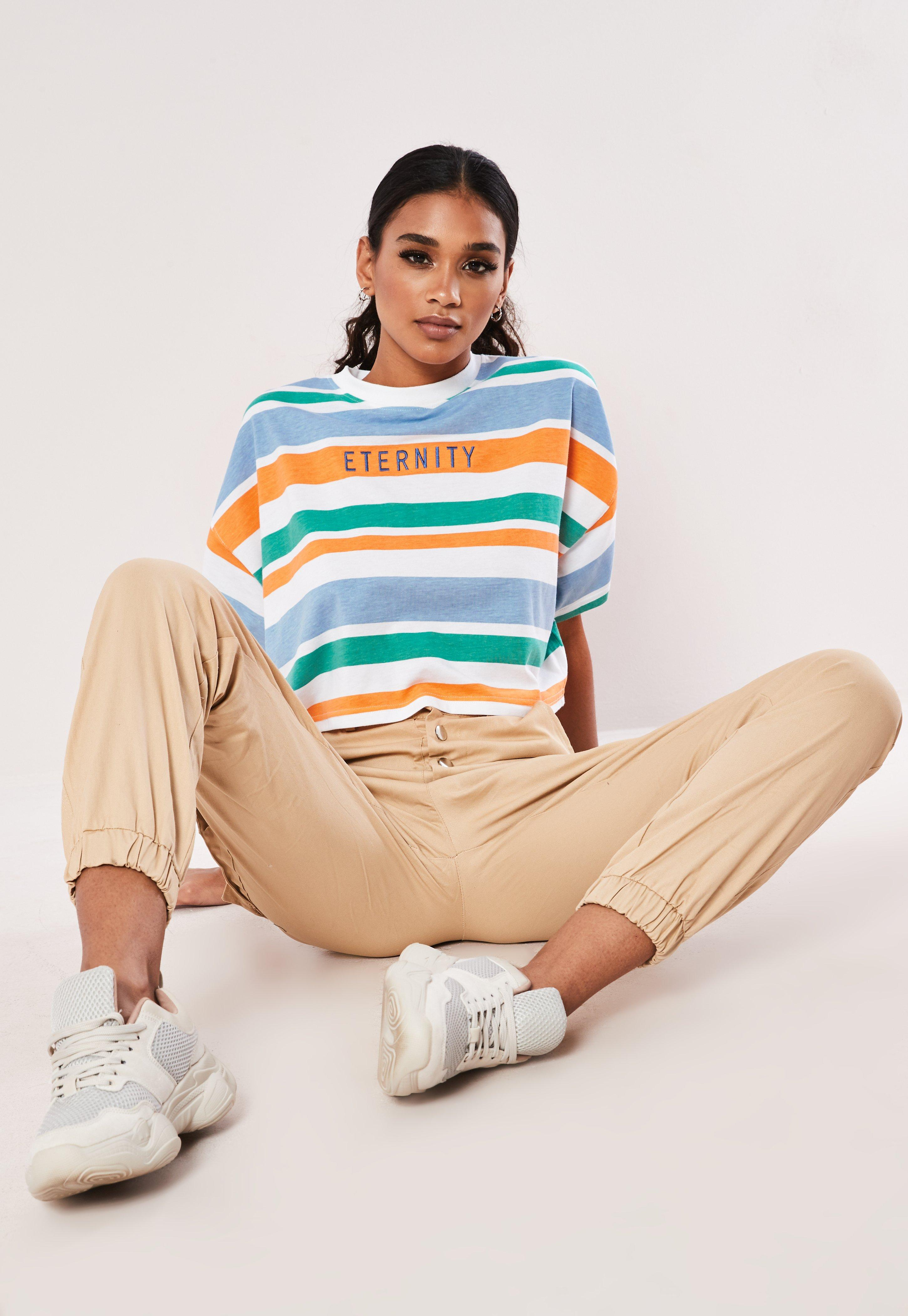 Blue Stripe Eternity Oversized Crop Top by Missguided