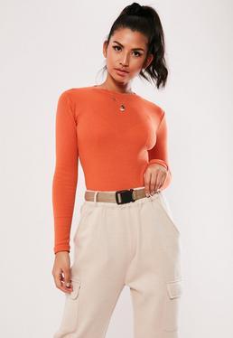 e7c3549c5420f7 Long Sleeve Bodysuits. Orange Crop Tops