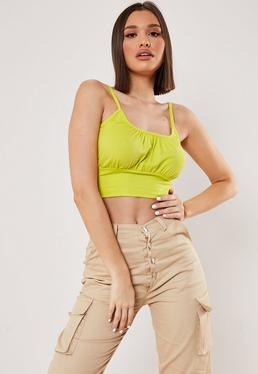 9189e703ae Lime Poplin Tie Front Cropped Shirt · Lime Corset Ruched Crop Top