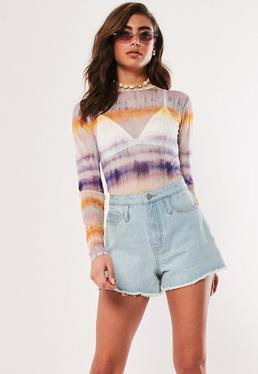 eda43a96a4 Lilac Tie Dye Print Mesh Bodysuit