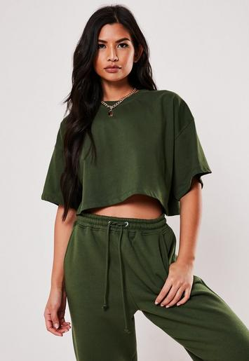 Green Oversized Drop Shoulder Crop Top by Missguided