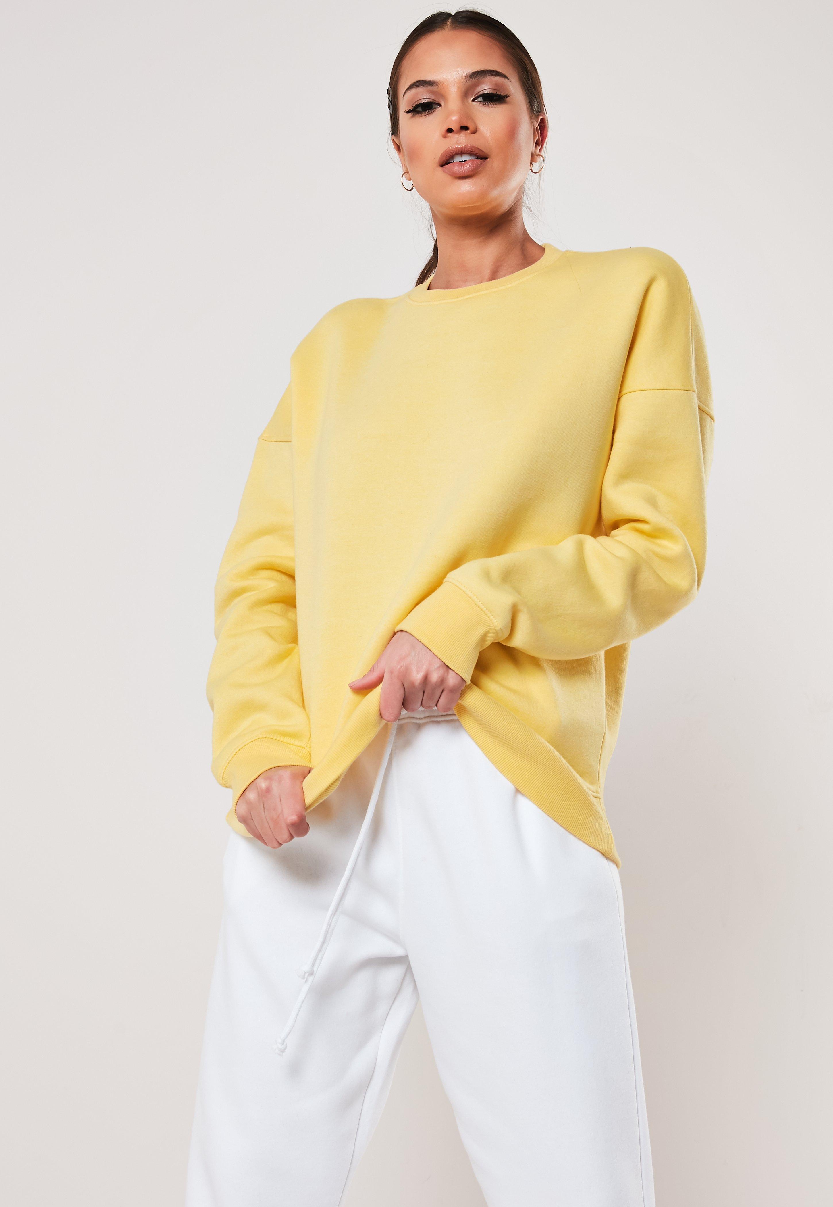 Yellow Oversized Crew Neck Sweatshirt by Missguided