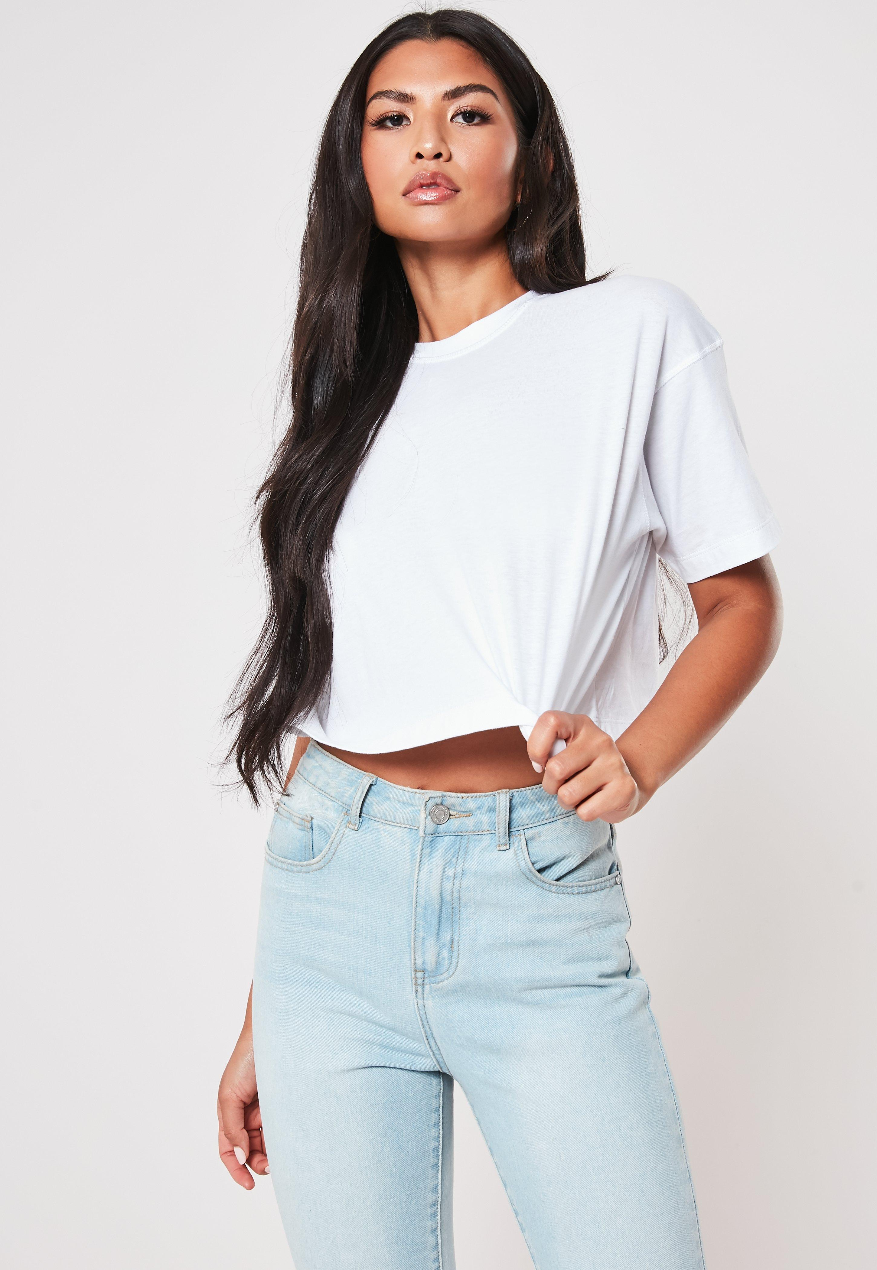 397d27c45 White Crew Neck Cropped T Shirt