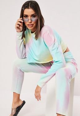 d2b54e32265ff1 Pastel Tie Dye Co ord Cropped Sweatshirt
