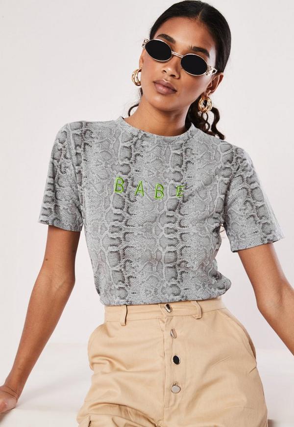 d65c871606e Grey Snake Print Babe Slogan Crew Neck T Shirt