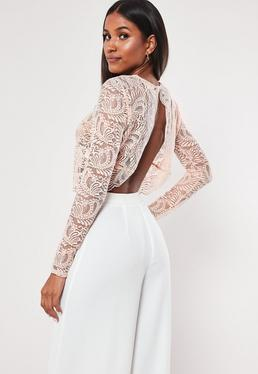 d622ad0a120f1 ... Pink Long Sleeve Lace Crop Top