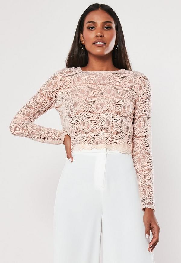 3112626eaf432 Pink Long Sleeve Lace Crop Top. Previous Next