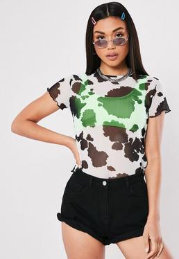 c90cbd1d1a4 Neon Green Mesh Long Sleeve Top · White Cow Print Mesh Lettuce Hem T Shirt