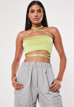 0631d7183d5de Neon Green Bandage Scoop Neck Bodysuit · Lime Slinky Square Neck Crop Top
