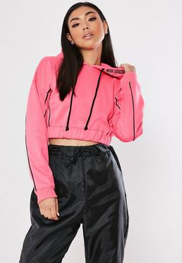 17aac9a1ffc Black Inserted Zip Front Crop Sweatshirt · Neon Pink New Season Cropped  Hoodie