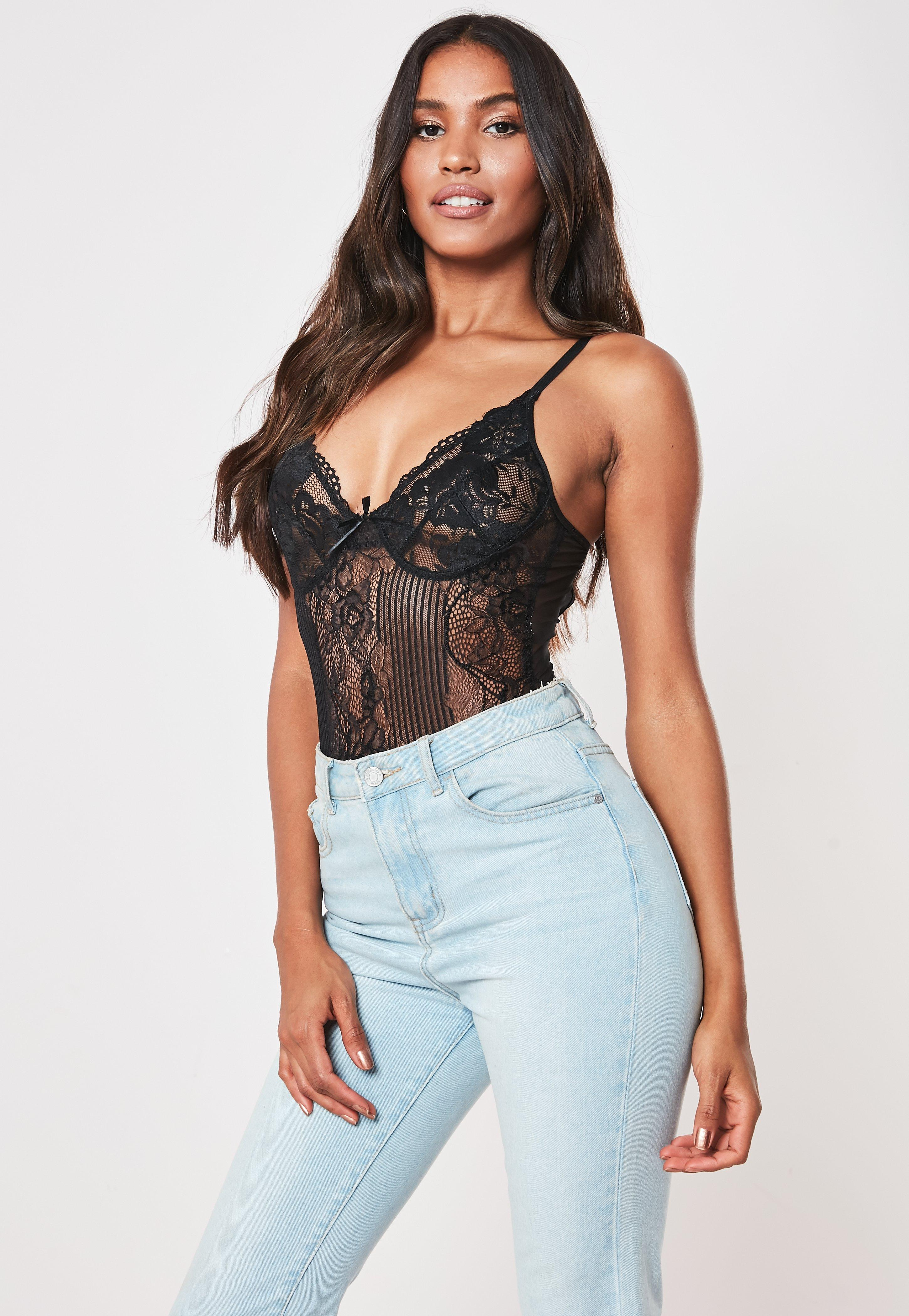 ba057d372927 Black Strappy Lace Cupped Bodysuit