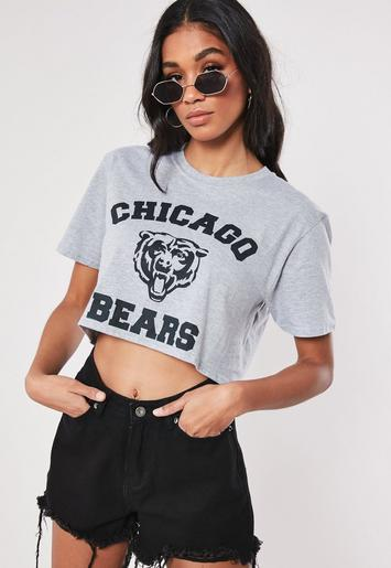 Grey Chicago Bears Graphic Crop T Shirt by Missguided