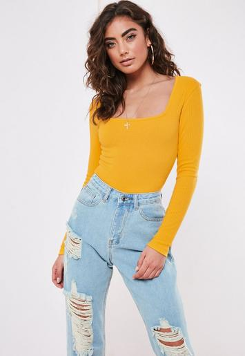 Mustard Rib Long Sleeve Scoop Bodysuit by Missguided