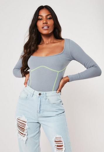 Grey Contrast Stitch Cupped Long Sleeve Bodysuit by Missguided