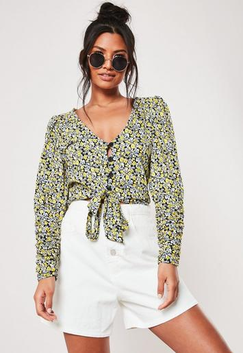 Black Floral Print Button Down Tie Top by Missguided