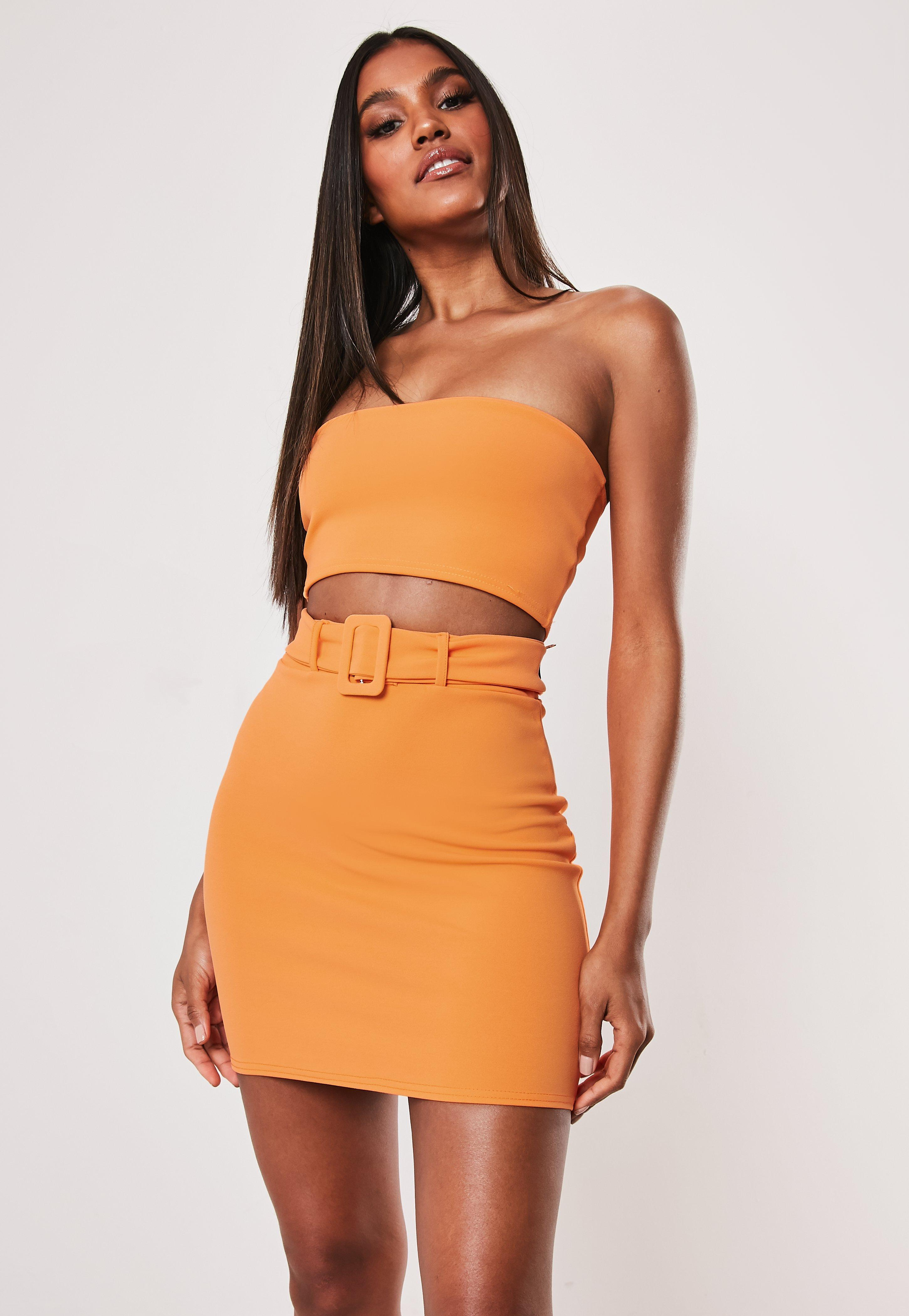 Neon Orange Co Ord Crepe Bandeau Top by Missguided