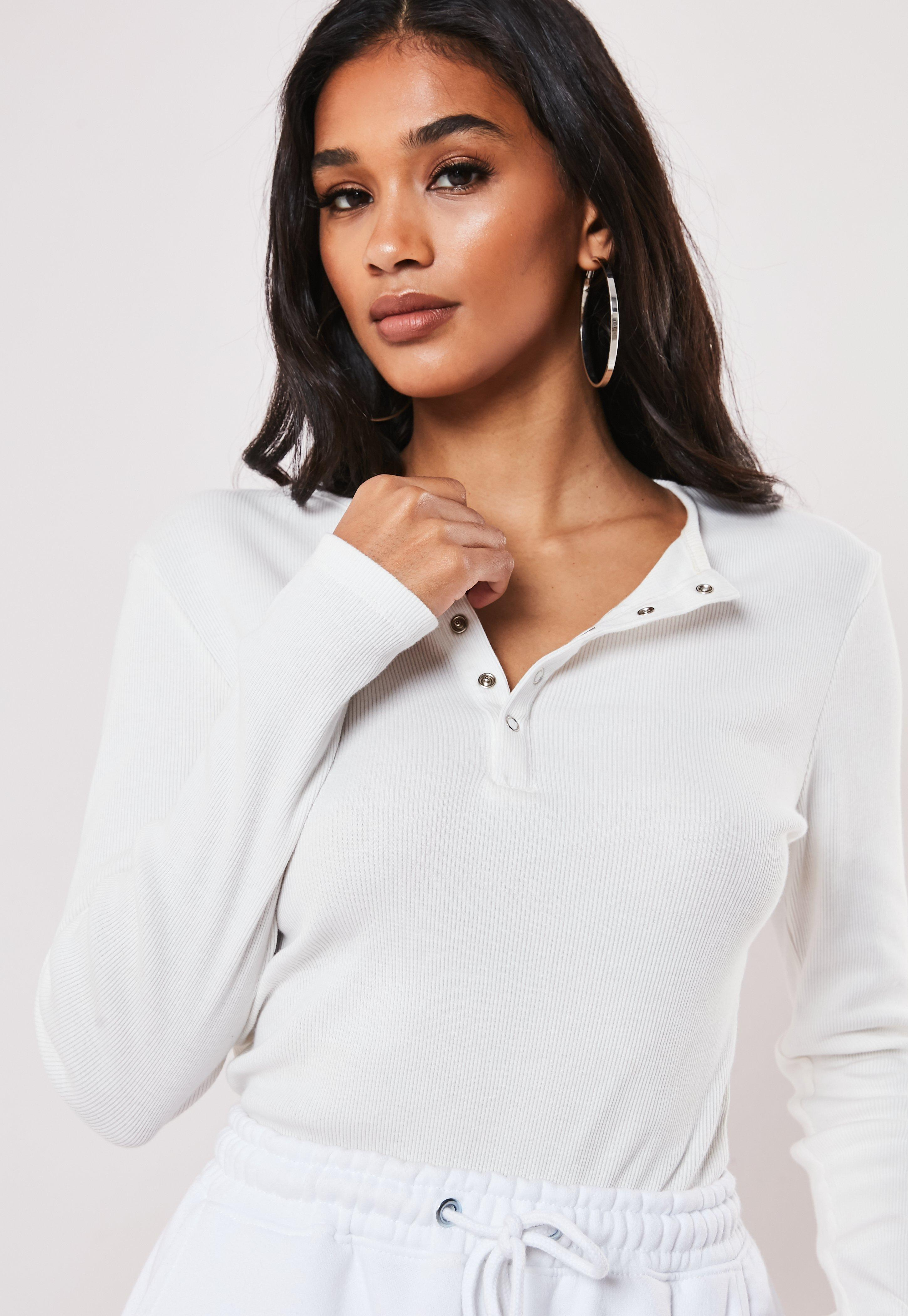 White Rib Popper Front T Shirt by Missguided